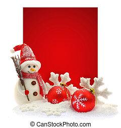 snowman, y, ornamentos de navidad, delante de, un, rojo,...