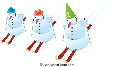 Snowmans on skis