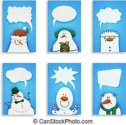 snowmen., 6, セット, かわいい