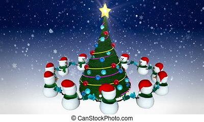 Snowmen around christmas tree