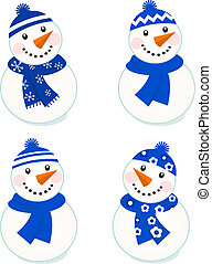 snowmen, bleu, (, mignon, isolé, collection, vecteur, ), blanc