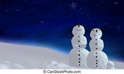snowmen blue sky