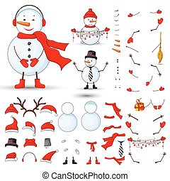 Snowmen body parts, transformer set on a white isolated...
