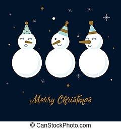 Snowmen. Cartoon illustration in Christmas style. Vector.