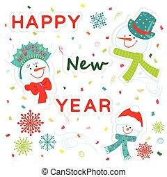 snowmen family greeting new year