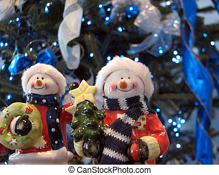 Snowmen Figurines - Shot of a couple snowman figurines using...