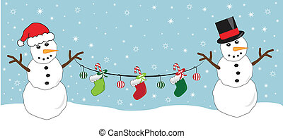 Snowmen Holding Stockings
