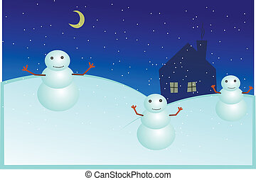 snowmen, illustration