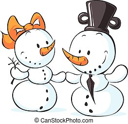 snowmen in love isolated on white -