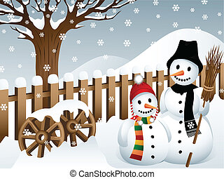 Vector illustration of two snowmen in the back yard of a country household.
