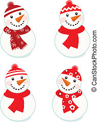 snowmen, (, isolé, mignon, collection, vecteur, rouges, ), blanc