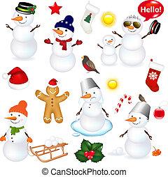 snowmen, navidad, colección, iconos