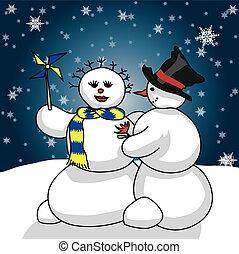 snowmen romance - snowman giving a gift to her snow woman....