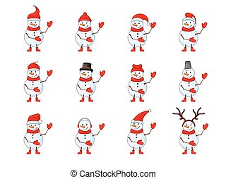 Snowmen set on a white isolated background