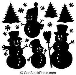 Snowmen silhouettes theme set 1