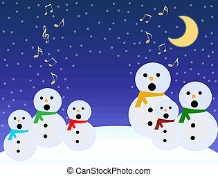 Snowmen sing - A choir of snowmen sing under a moon on blue...