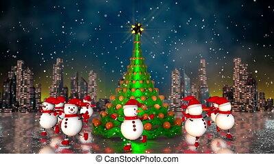 Snowmen skating round the christmas tree at skyline...