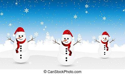 snowmen, winter, achtergrond, bos