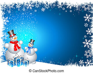 snowmen with christmas gifts