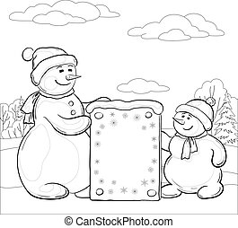 Snowmens with sign, contours