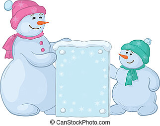 Snowmens with sign