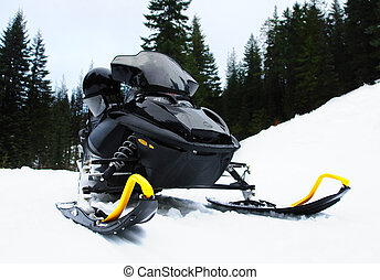 Snowmobile - A black snowmobile