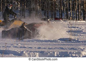 Snowmobile Accident - Adventure in the winter landscape