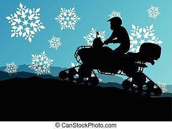 Snowmobile all terrain quad motorbike vehicle rider in wild natu