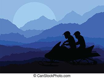 snowmobile, cavalieri, paesaggio, fondo, illustrazione,...