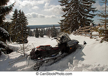 Snowmobile in the snow