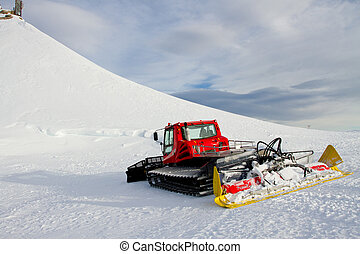 Snowmobile in  winter landsacpe