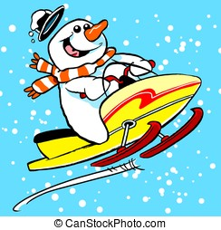 Snowmobile man - Cartoon snowman on snow mobile.