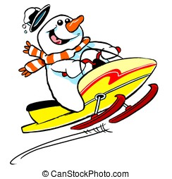 Snowmobile man.WBG. - Cartoon snowman on snow mobile; on...