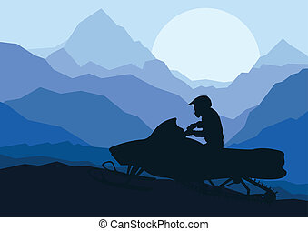 snowmobile, motocicletta, cavalieri, silhouette,...