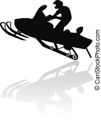 snowmobile, motocicletta, silhouette