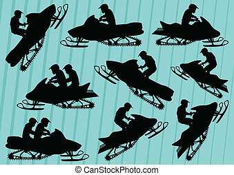 Snowmobile motorbike riders silhouettes illustration background