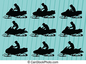 Snowmobile motorbike riders silhouettes illustration collection background vector