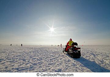 snowmobile on a beautiful winter landscape