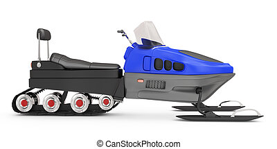 snowmobile on white background. 3d rendered image
