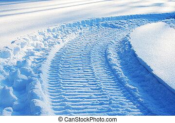 snowmobile, pista, ligado, neve