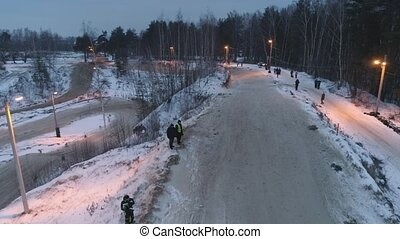 Snowmobile races in the winter season. Championship on...