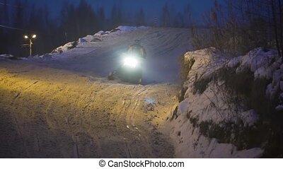 Snowmobile races in the winter season, Russia. Championship...