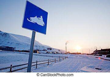 Snowmobile Sign Svalbard