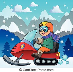 Snowmobile theme image 2 - eps10 vector illustration.