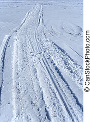 Snowmobile tracks in the snow