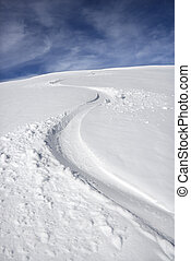 Snowmobile trail. - Snowmobile trail in snow.