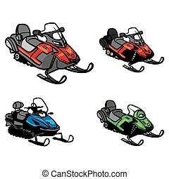 snowmobile, vector., snowmobile, isolato, fondo., inverno,...