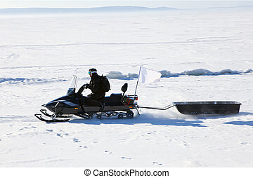 snowmobile with a trailer