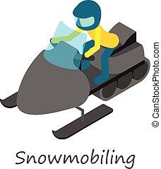 snowmobiling, icona, isometrico, stile