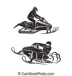 snowmobiling, silhouette, bianco, fondo